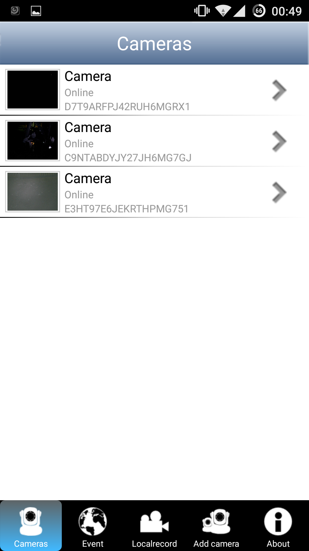 screenshot of all cameras