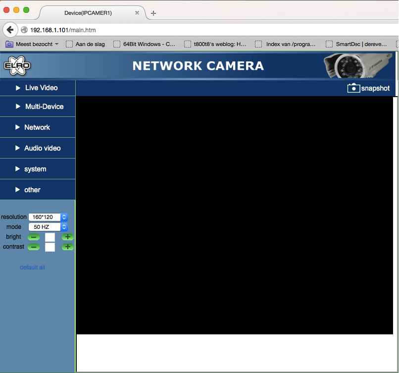 screenshot of the IP camera web interface