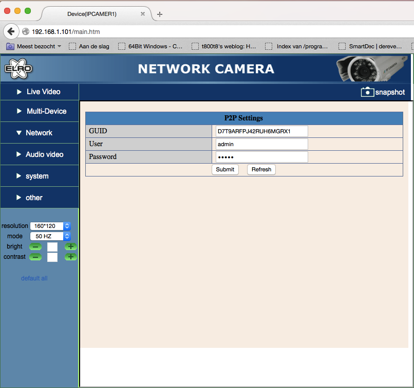 screenshot of the P2P interface in the web interface